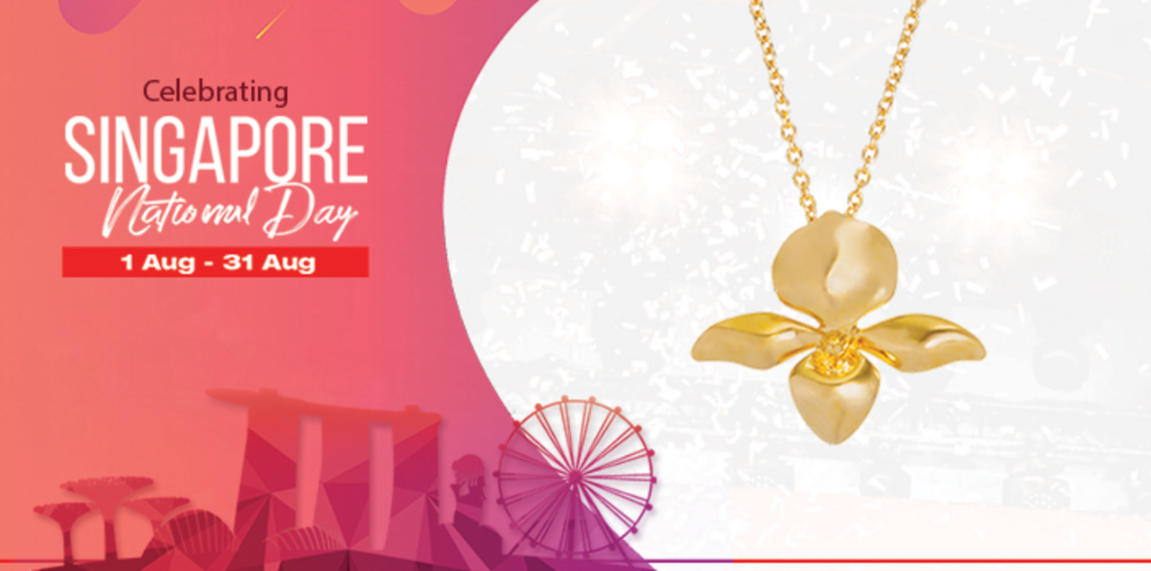 RISIS 18K Gold Plated Orchid Necklace at $55