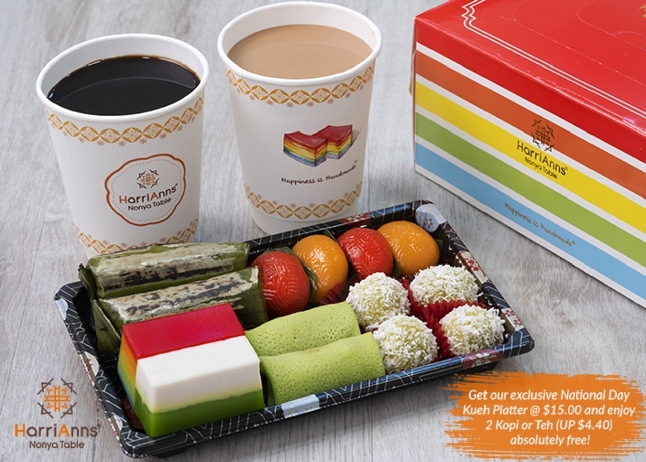 Get our exclusive National Day  Kueh Platter @ $15.00 and enjoy  2 Kopi or Teh (UP $4.40)  absolutely free!