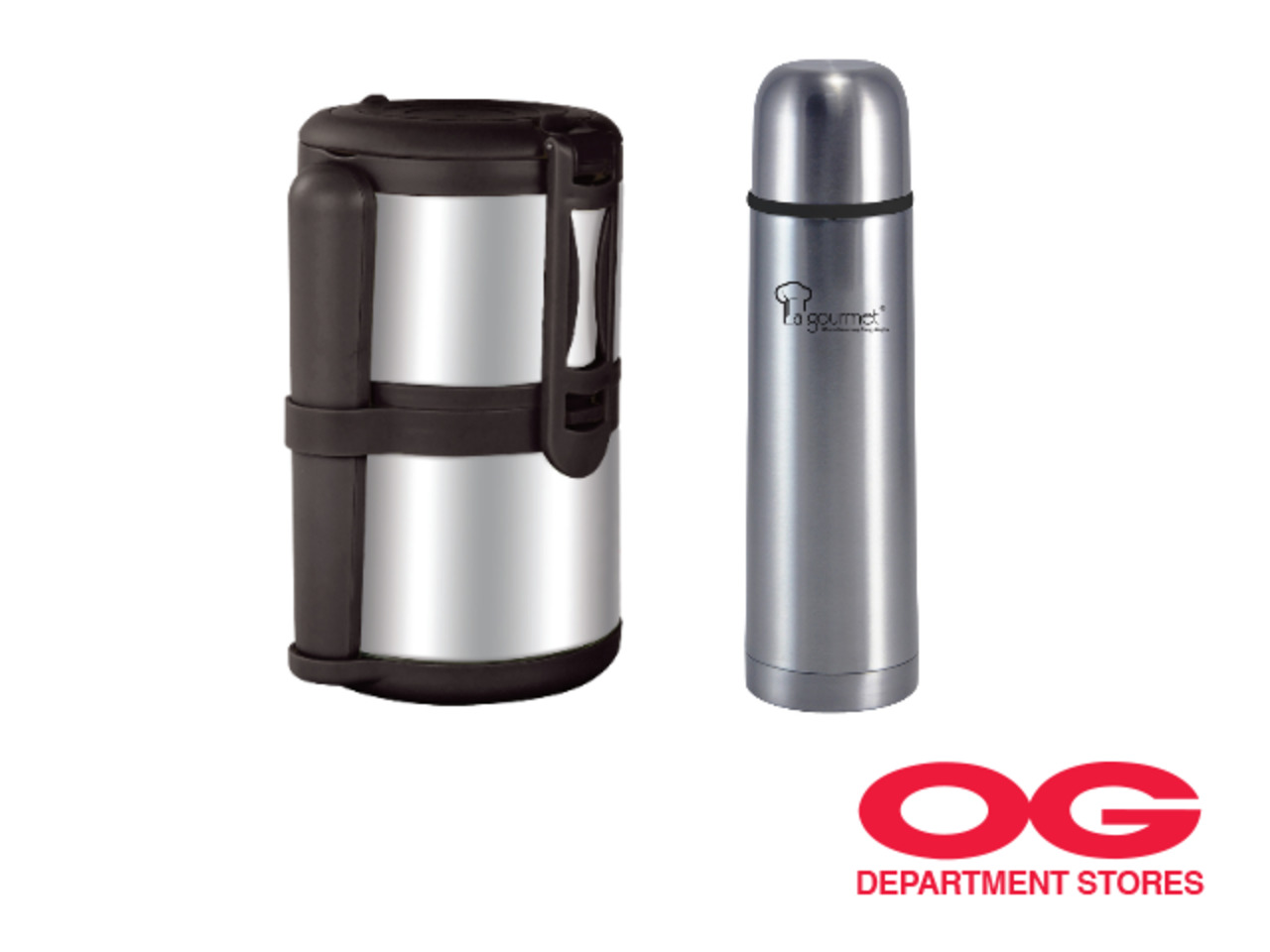 LA GOURMET Sassy 1.4L 2-Tier Thermal Carrier + Sakura Plus 0.5L Flask @ $58