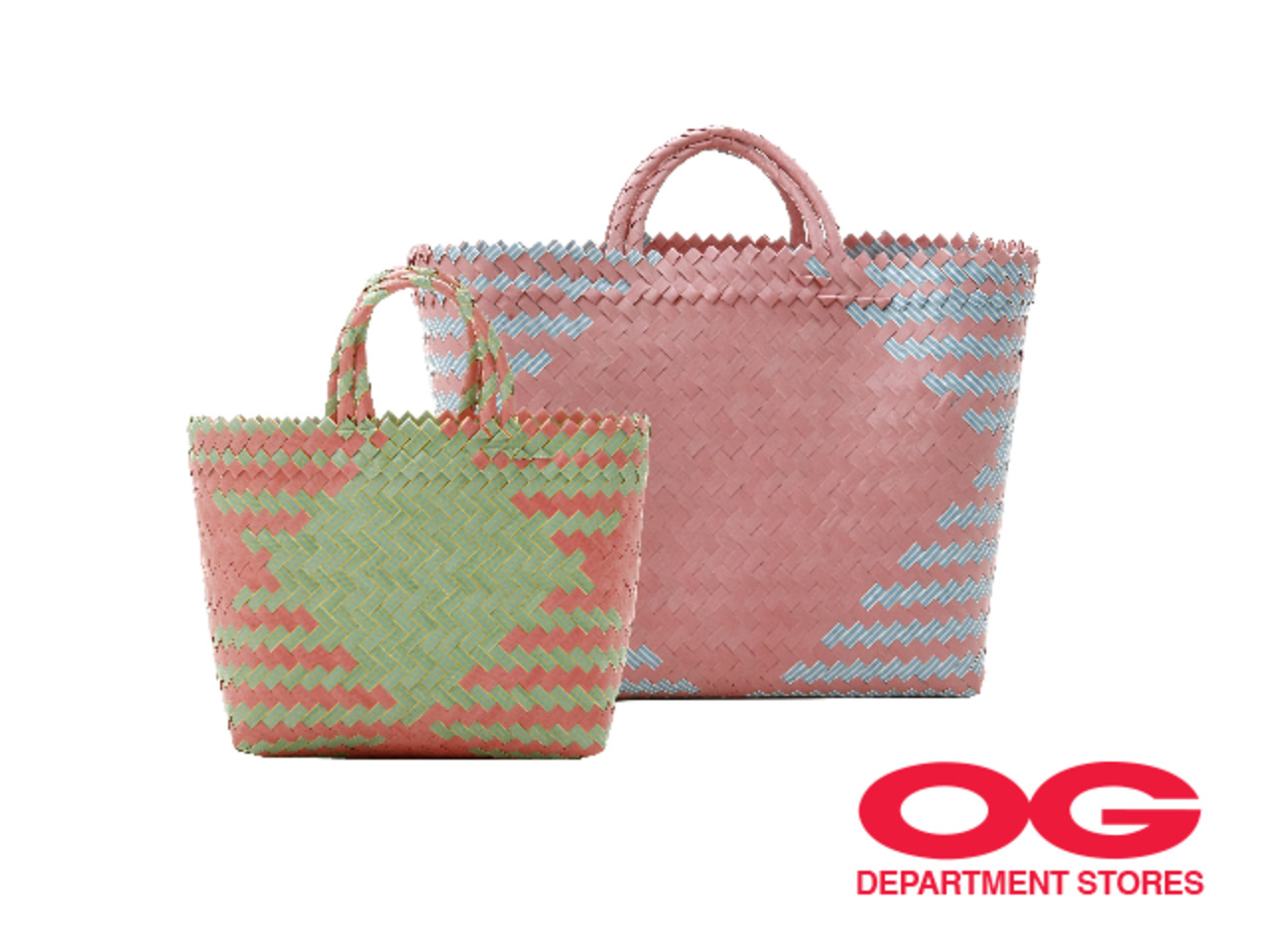 SOEWA Handwoven Recycled Plastic Reusable Bag (Selected Designs) @ 2 for $58–$68